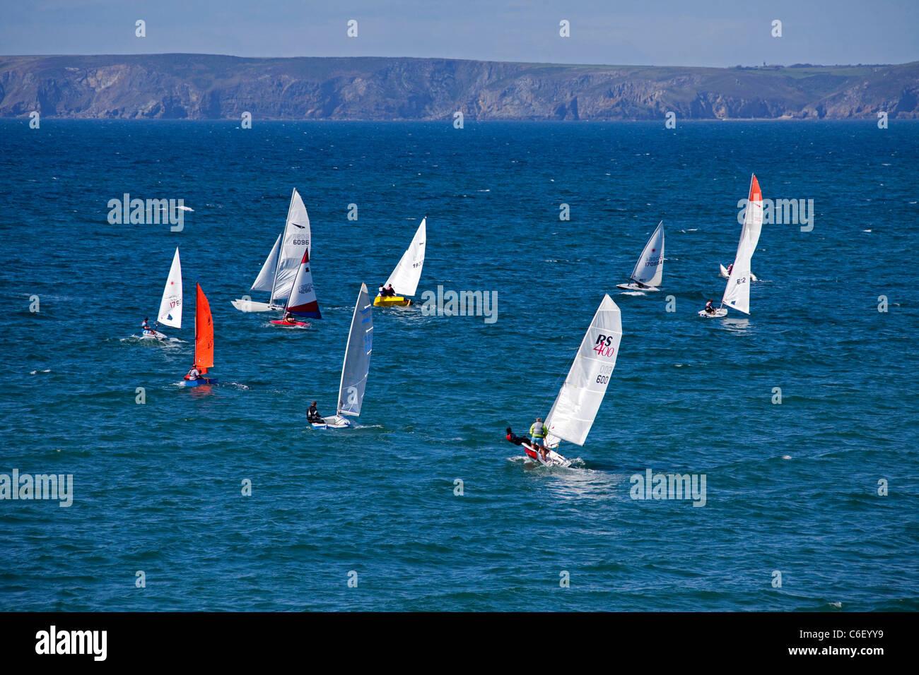 Summer Regatta sailing boats at Little Haven Pembrokeshire Wales UK 119492_LittleHaven - Stock Image