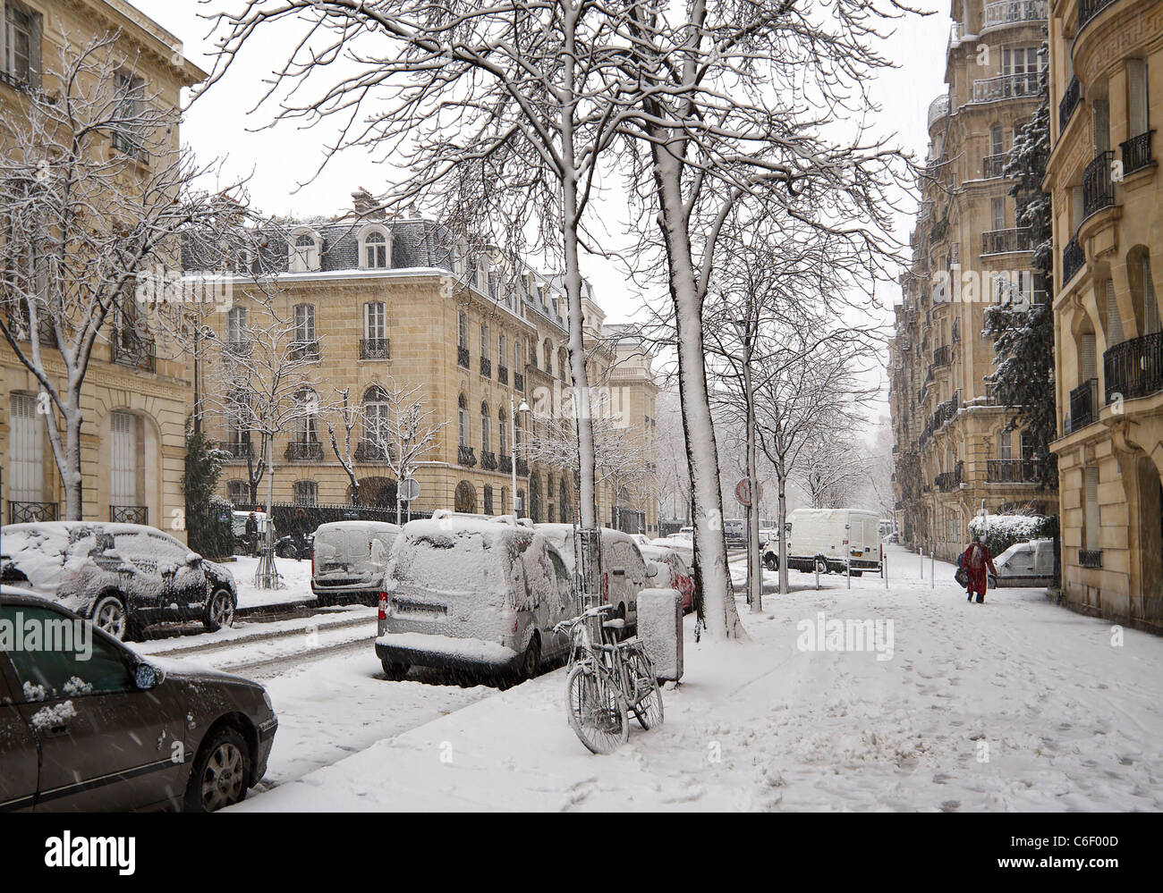 An early winter snowstorm covers trees and pavements in Paris, France. - Stock Image