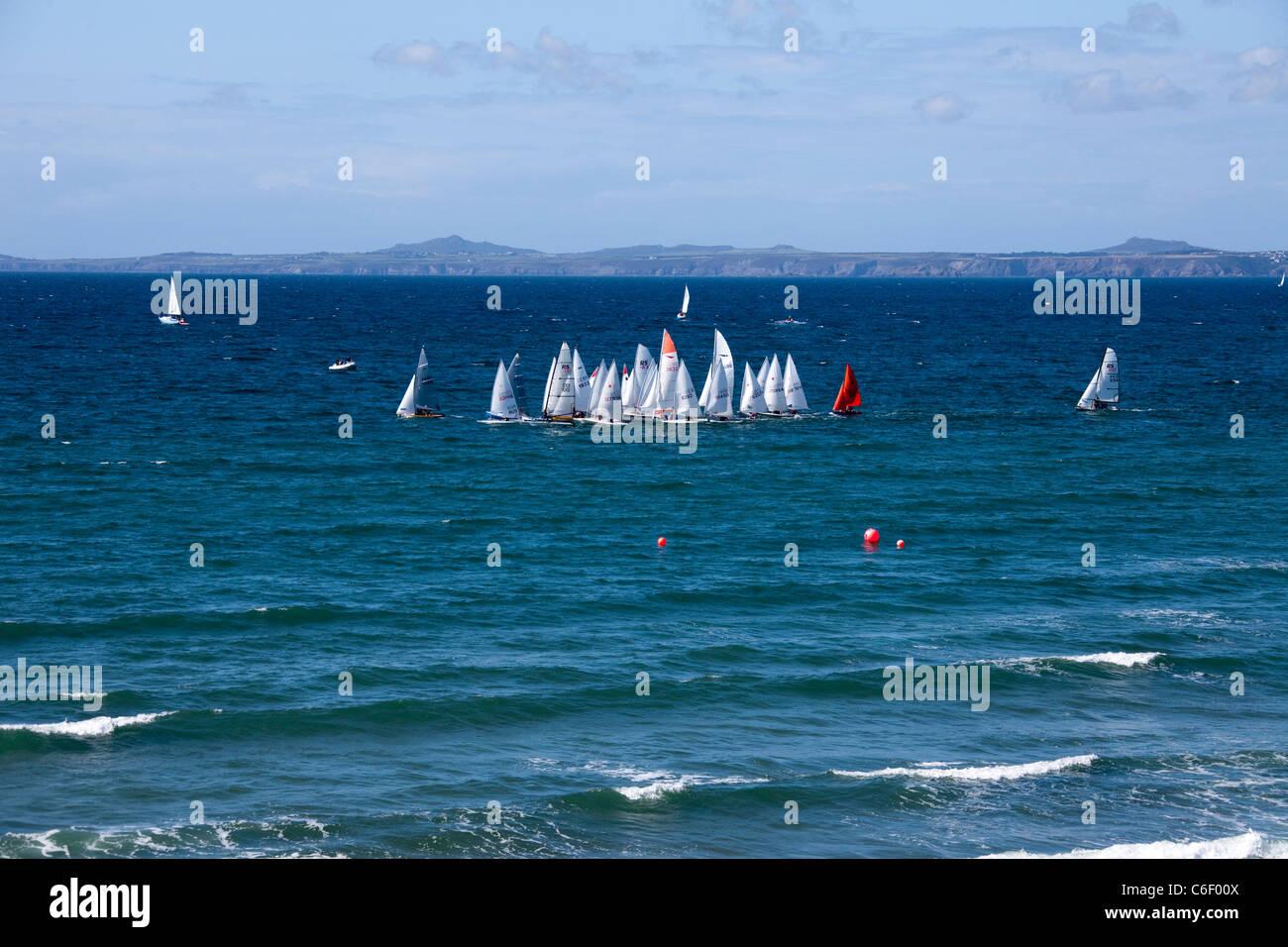 Summer Regatta sailing boats at Little Haven Pembrokeshire Wales UK 119496_LittleHaven - Stock Image