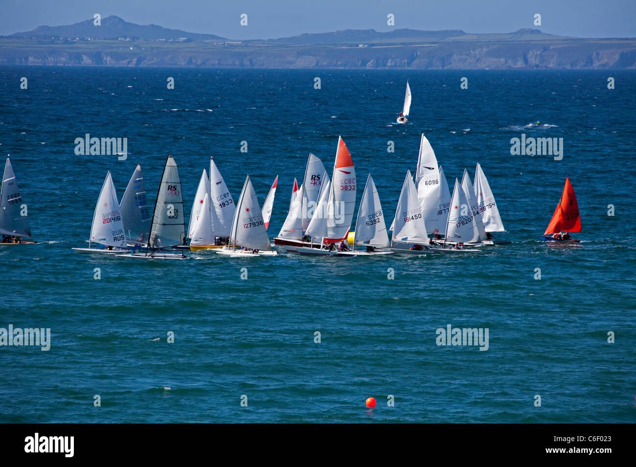 Summer Regatta sailing boats at Little Haven Pembrokeshire Wales UK 119497_LittleHaven - Stock Image