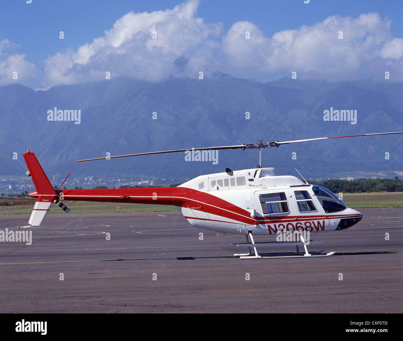 Maui sightseeing helicopter, Maui, Hawaii, United States of America Stock Photo