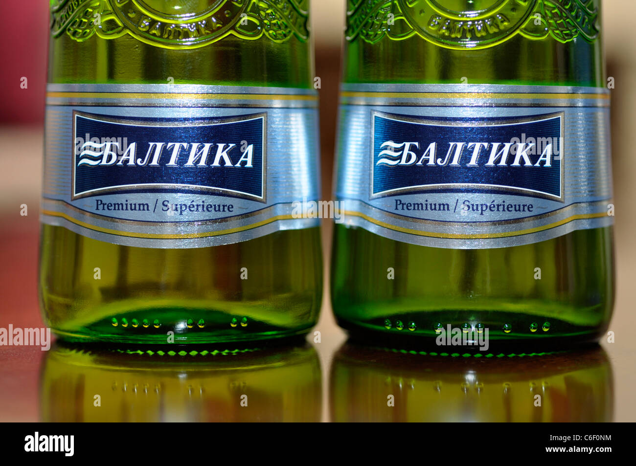 Closeup of two Bottles of Russian Lager / Beer, Baltika - Stock Image