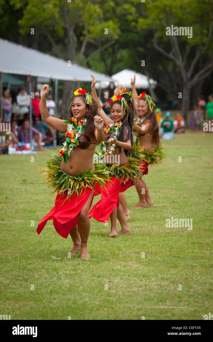 Tahitian Dancers, Kualoa Park, Kaneohe, Oahu, Hawaii Stock Photo