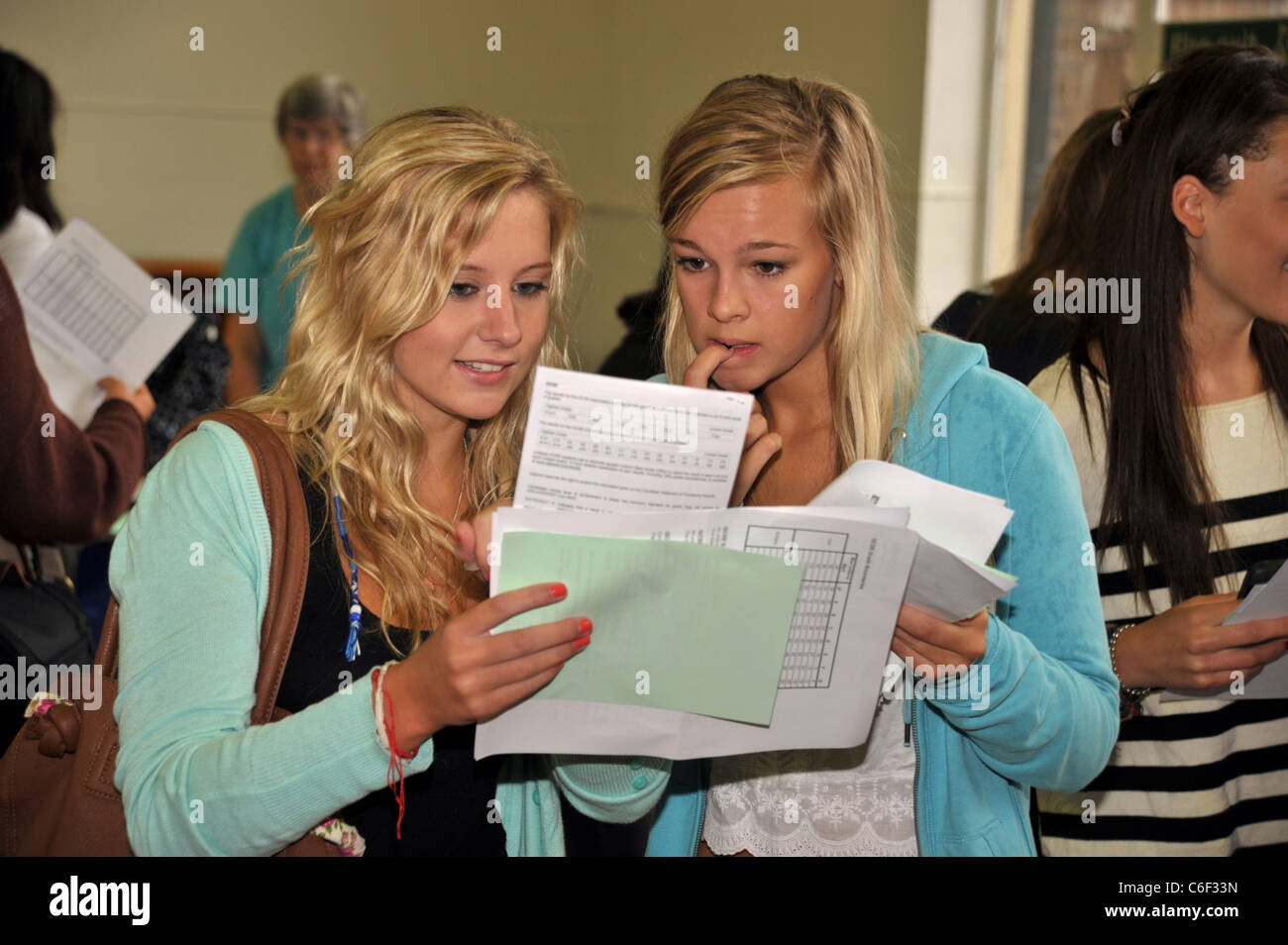 Gcse exam results at a London Secondary School England UK - Stock Image