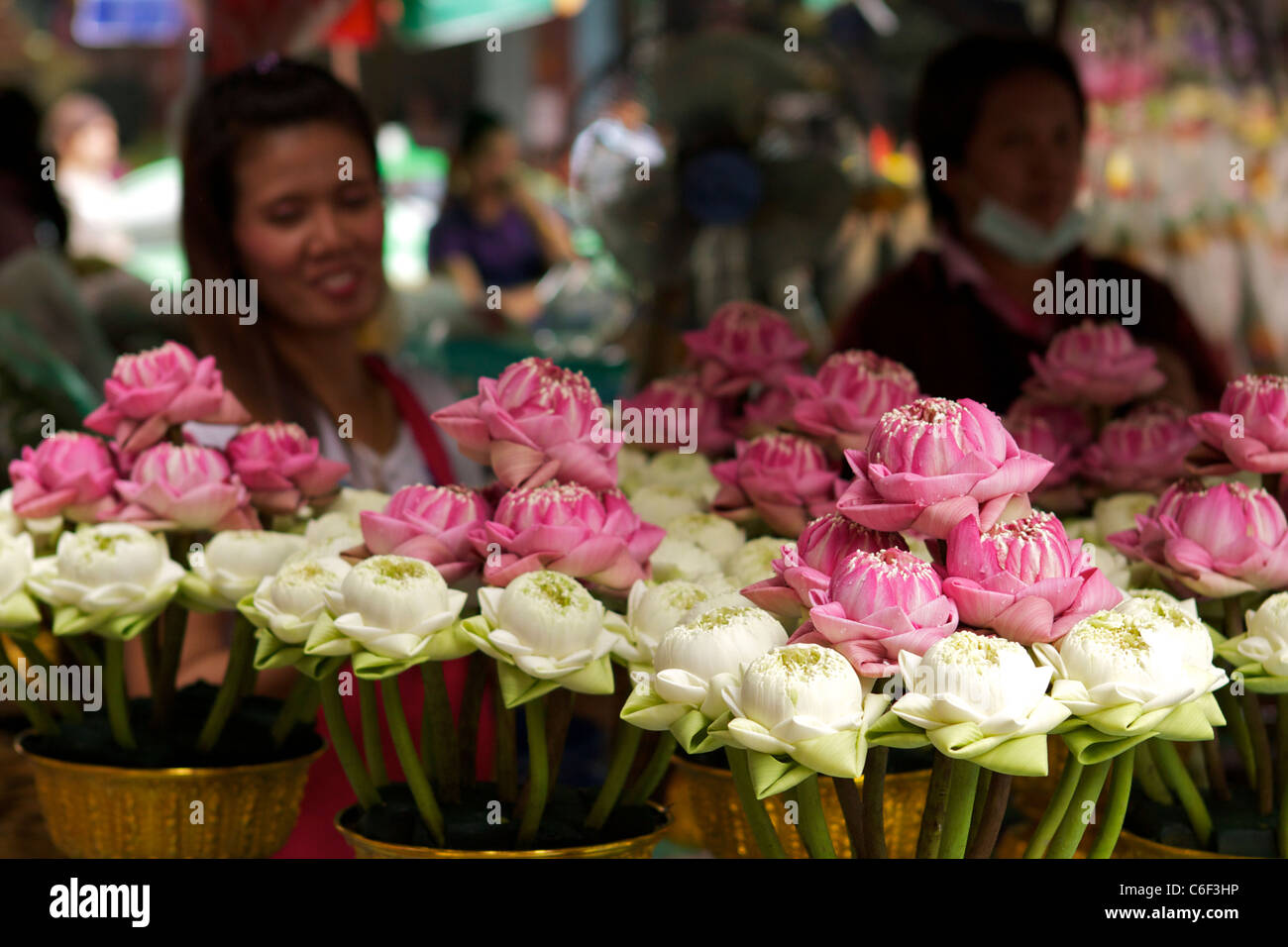 Bowls Of Hand Folded Lotus Flowers For Sale On A Street Stall In The