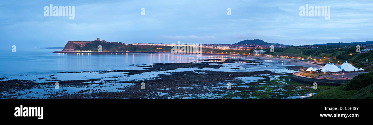 Panoramic Night view over the North bay of Scarborough, North Yorkshire. - Stock Image