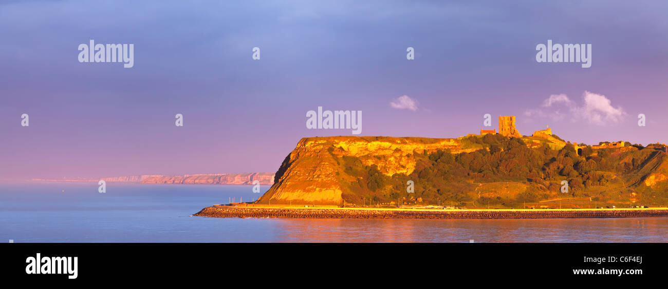 Clearing storm over Scarborough North bay from Scalby Ness, North Yorkshire. - Stock Image