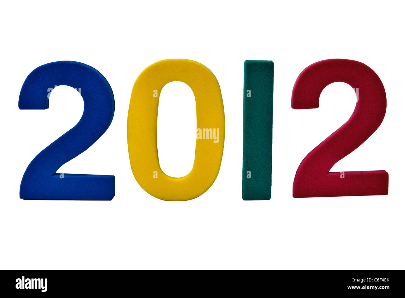 2012 year date View from the front. Close up (macro) - Stock Image