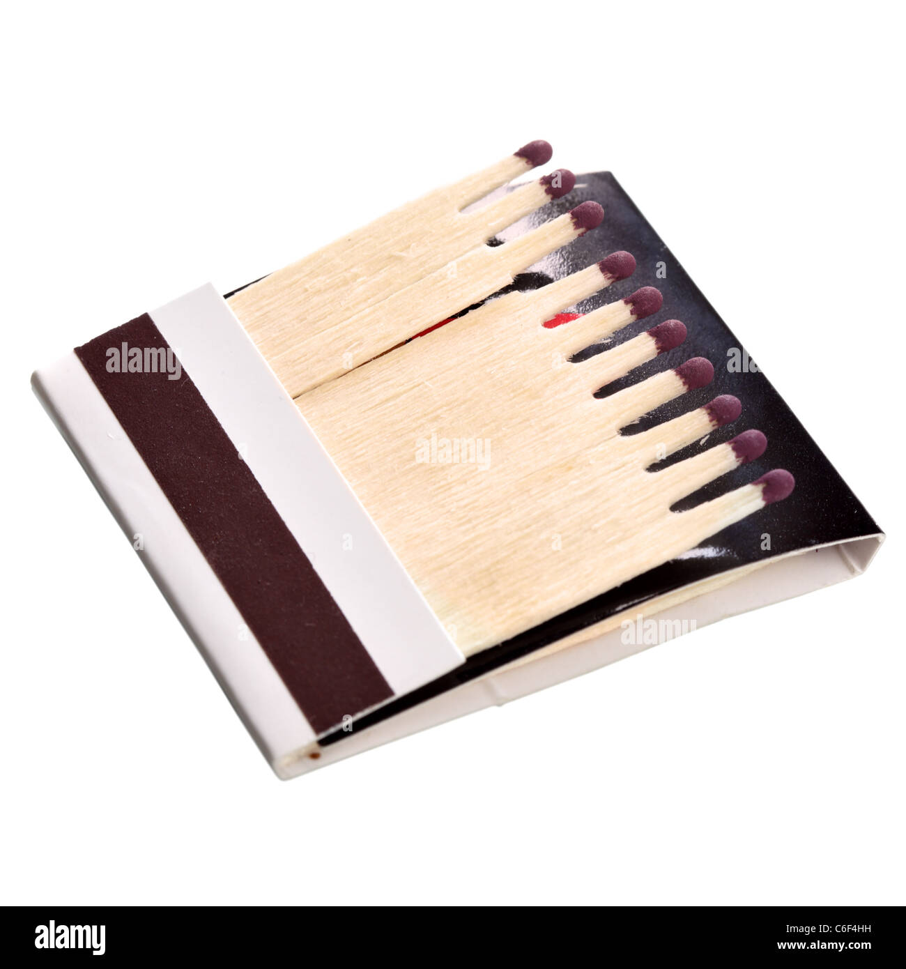 Matchbook close-up isolated over the white background - Stock Image