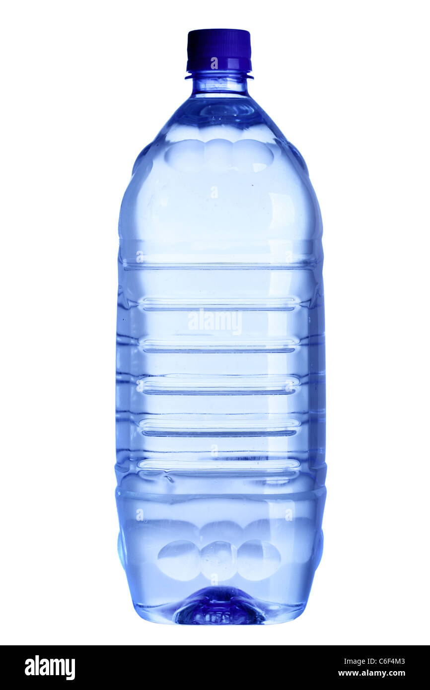 Water bottle close-up isolated over the white background - Stock Image