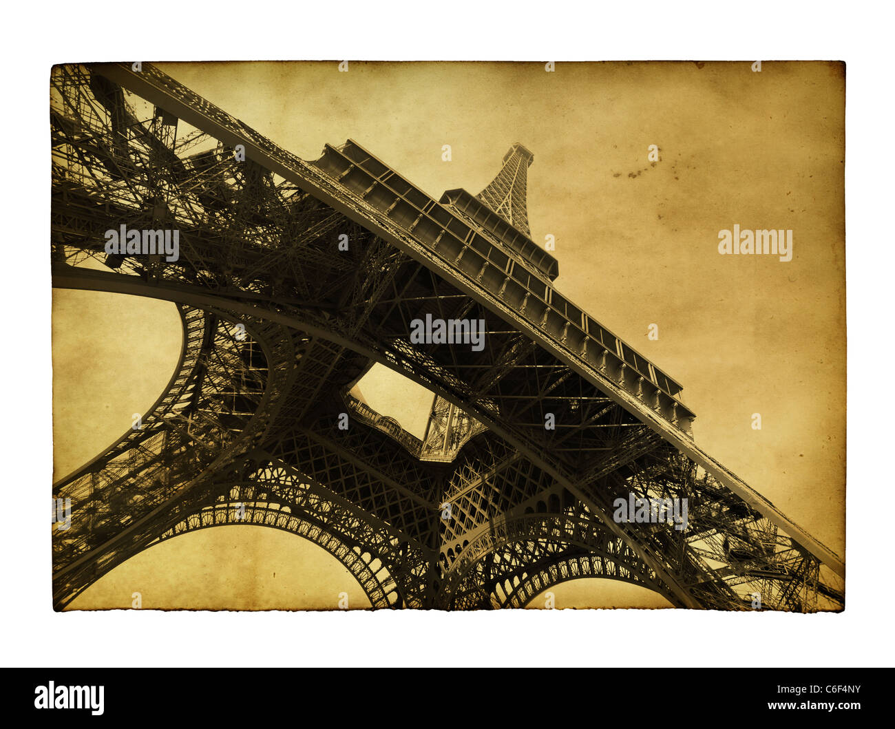 Vntage postcard with Eiffel tower isolated over white background - Stock Image