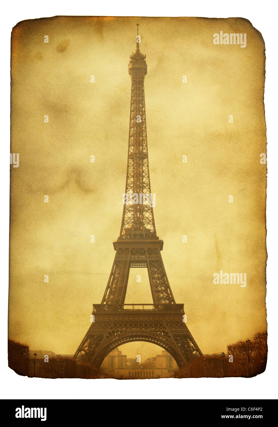 Vntage postcard (imitation) with Eiffel tower isolated over white background - Stock Image