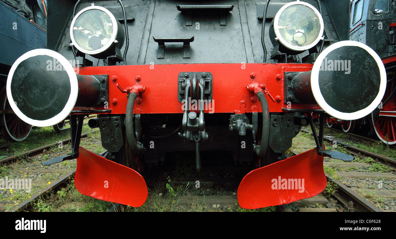 Vintage steam engine locomotive nice friendly sympathetic reliable trusty likable lovable gazing staring bumpers - Stock Image