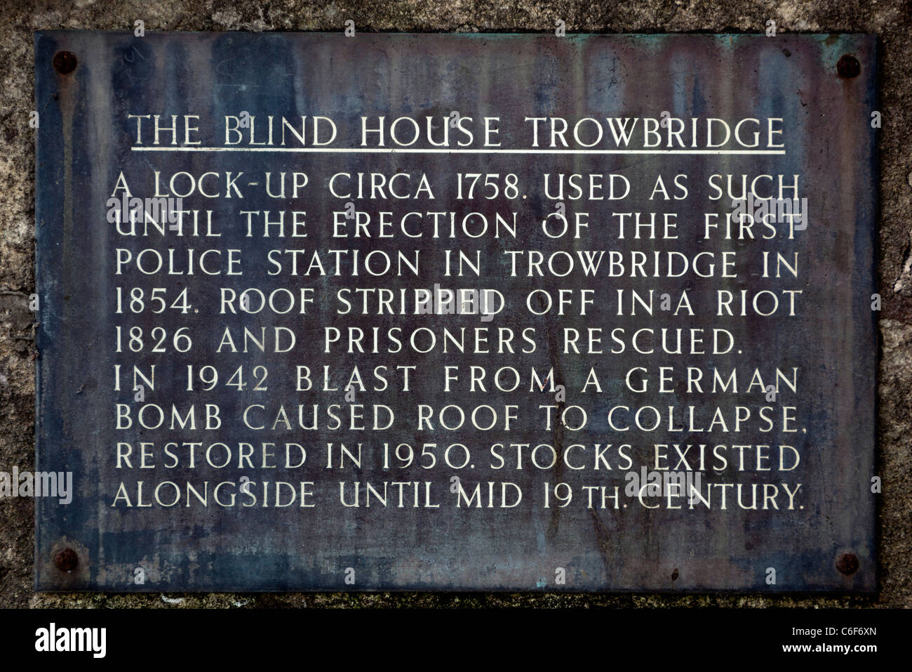 Sign on The Old Lock Up or Blind House Trowbridge - Stock Image