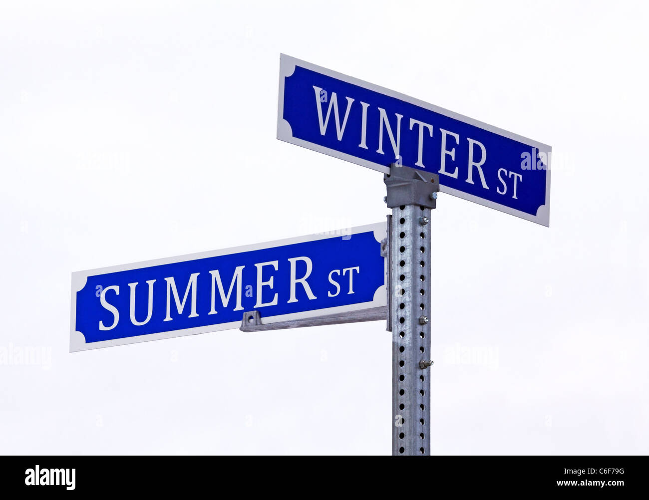 Summer winter street sign isolated on white background. - Stock Image