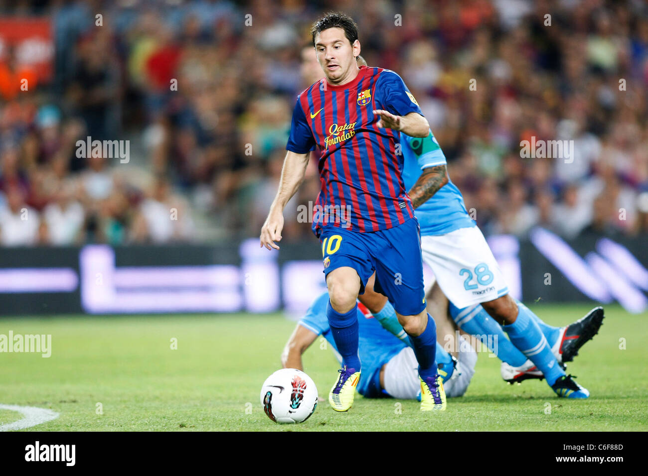 Lionel Messi (Barcelona) playing for the Trofeo Joan Gamper match between FC Barcelona 5-0 Napoli. - Stock Image