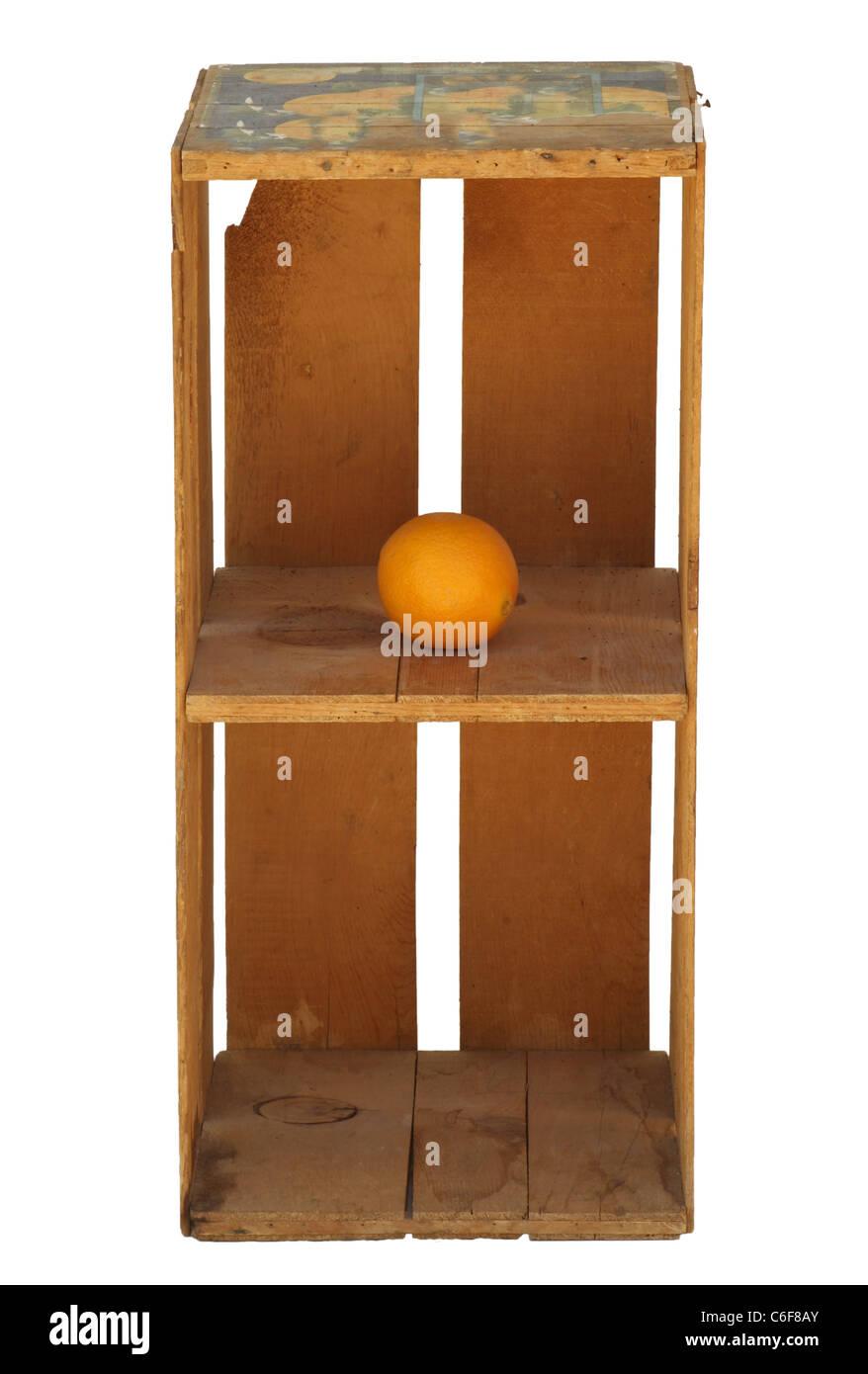 Upright Wood Orange Crate Isolated With One Orange.