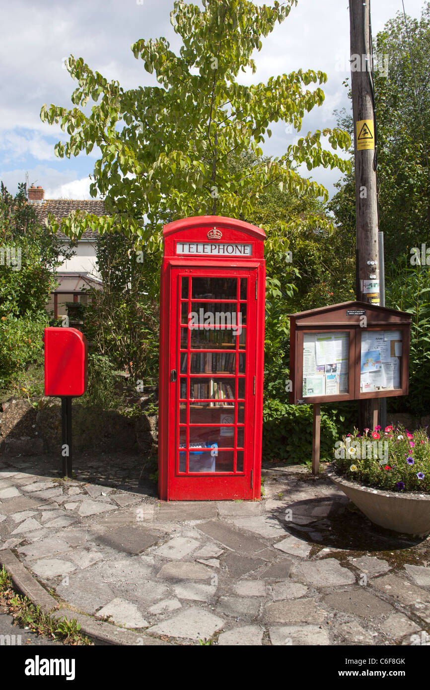 Telephone Box Book Exchange Great Hinton Wiltshire - Stock Image