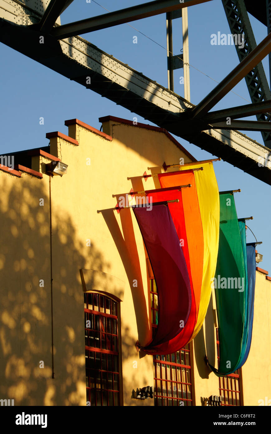 Colorful banners at sunset, Granville Island, Vancouver, British Columbia, Canada - Stock Image