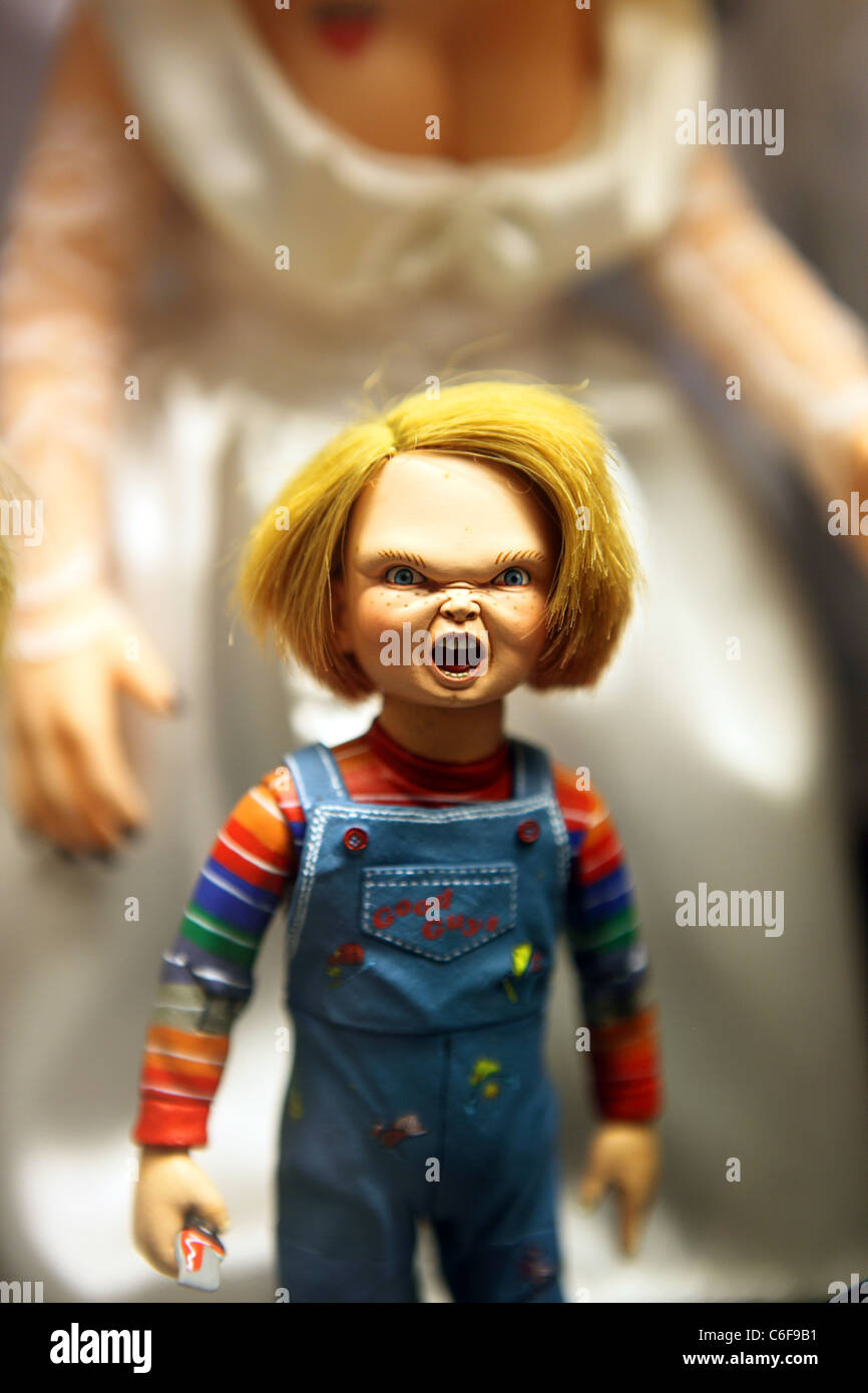 chucky doll the horror movie character at toyworld stock photo