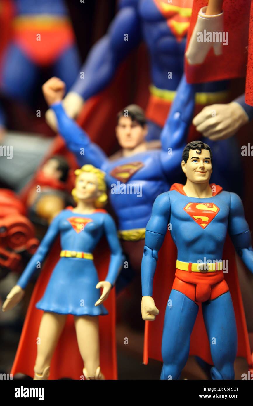 Superman action figures on display at toy world in Penang. Malaysia, Southeast Asia, Asia - Stock Image