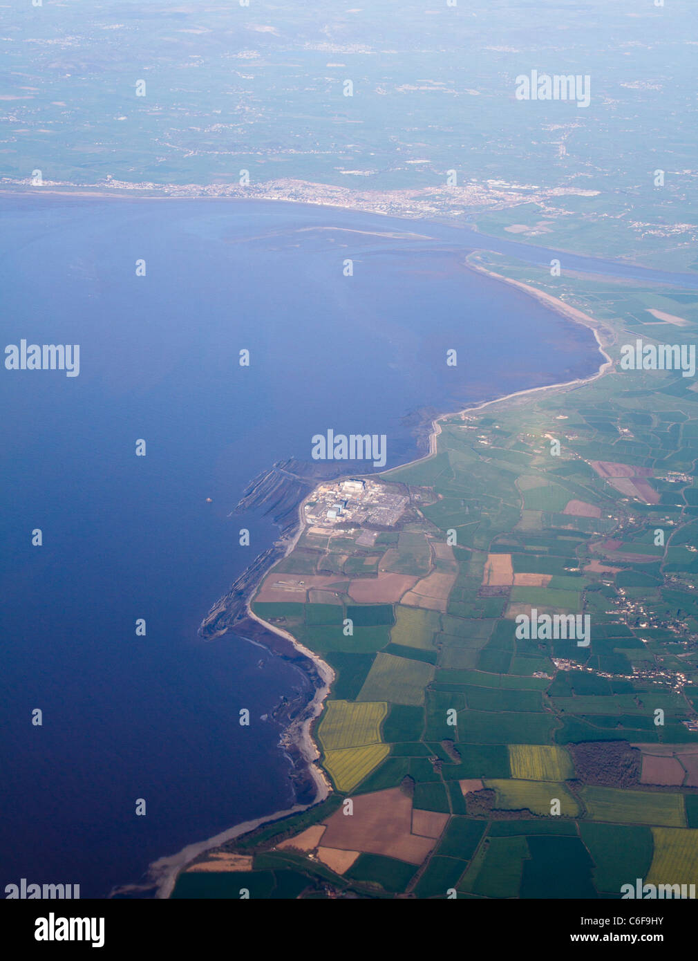 Coast of Somerset and Hinkley Point Nuclear Power Station. - Stock Image