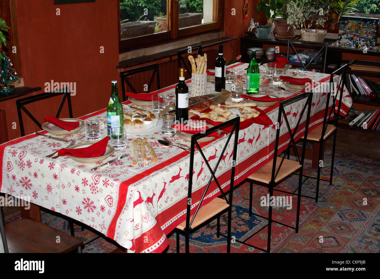 Table ready for Christmas - Stock Image