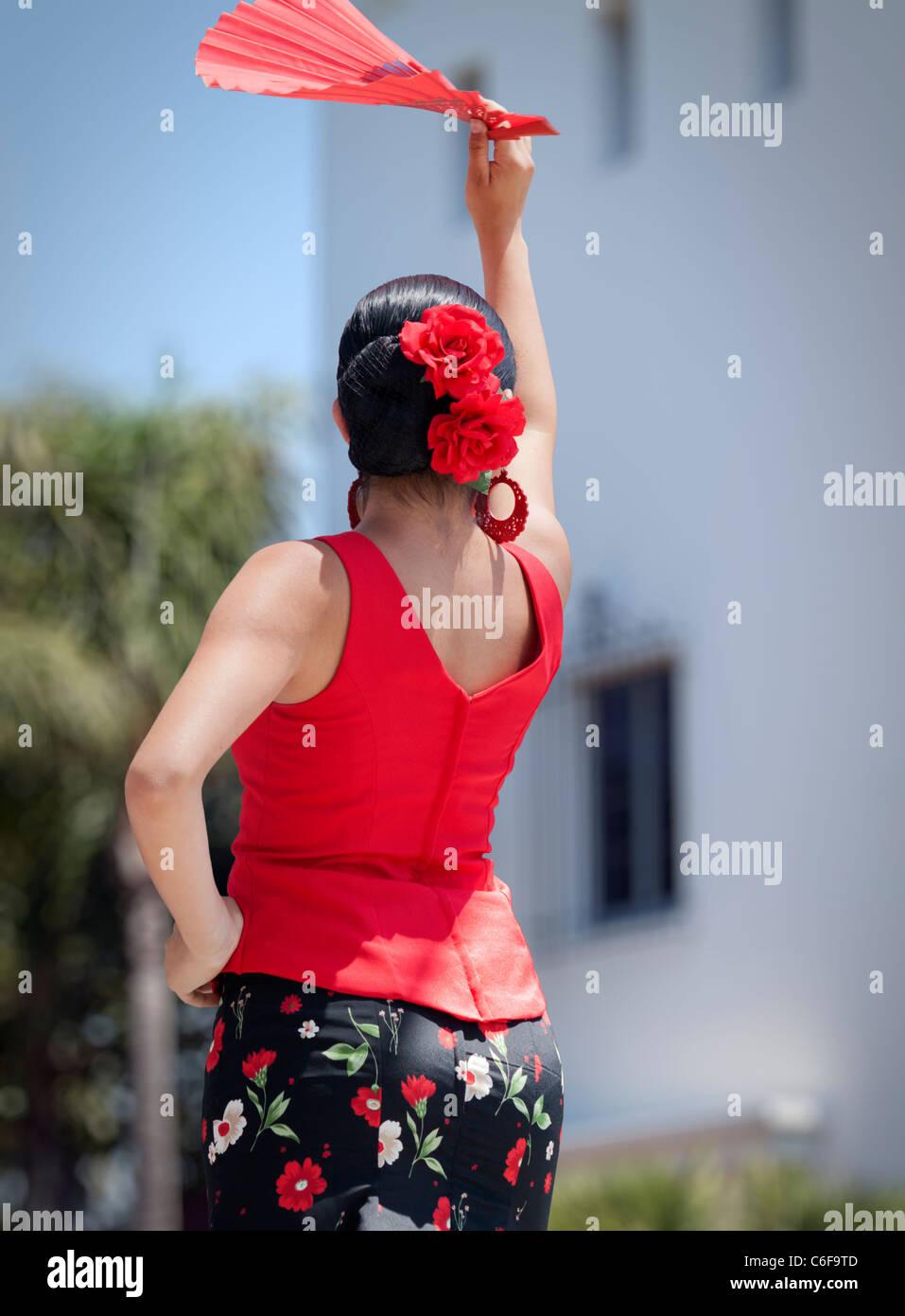 Flamenco dancer waiting to start her performance - Stock Image