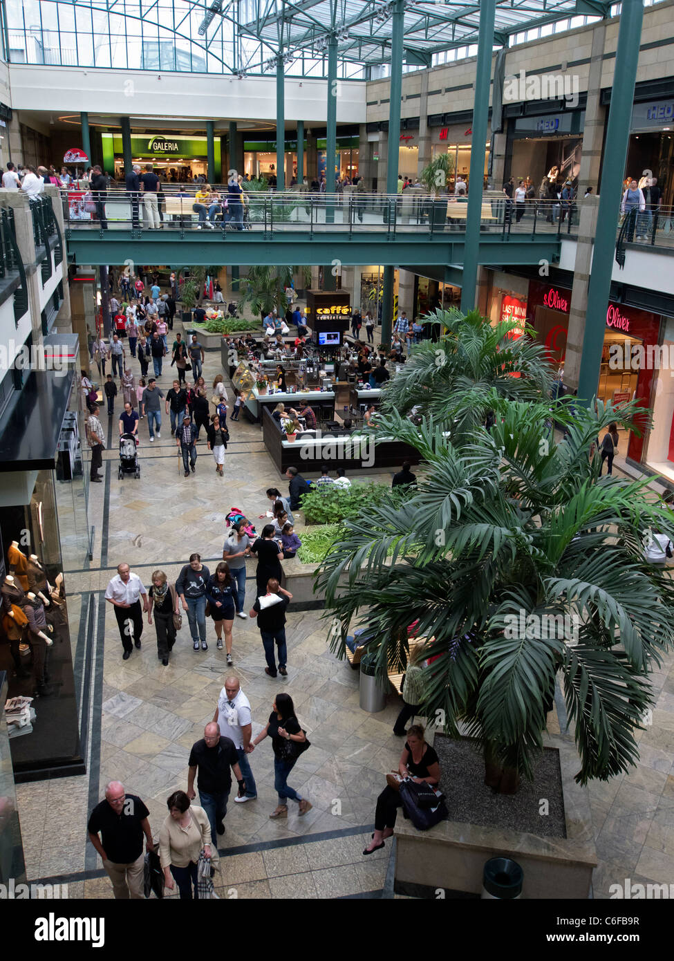 Interior of atrium in Centro one of Europe's largest shopping mall in Oberhausen Germany - Stock Image