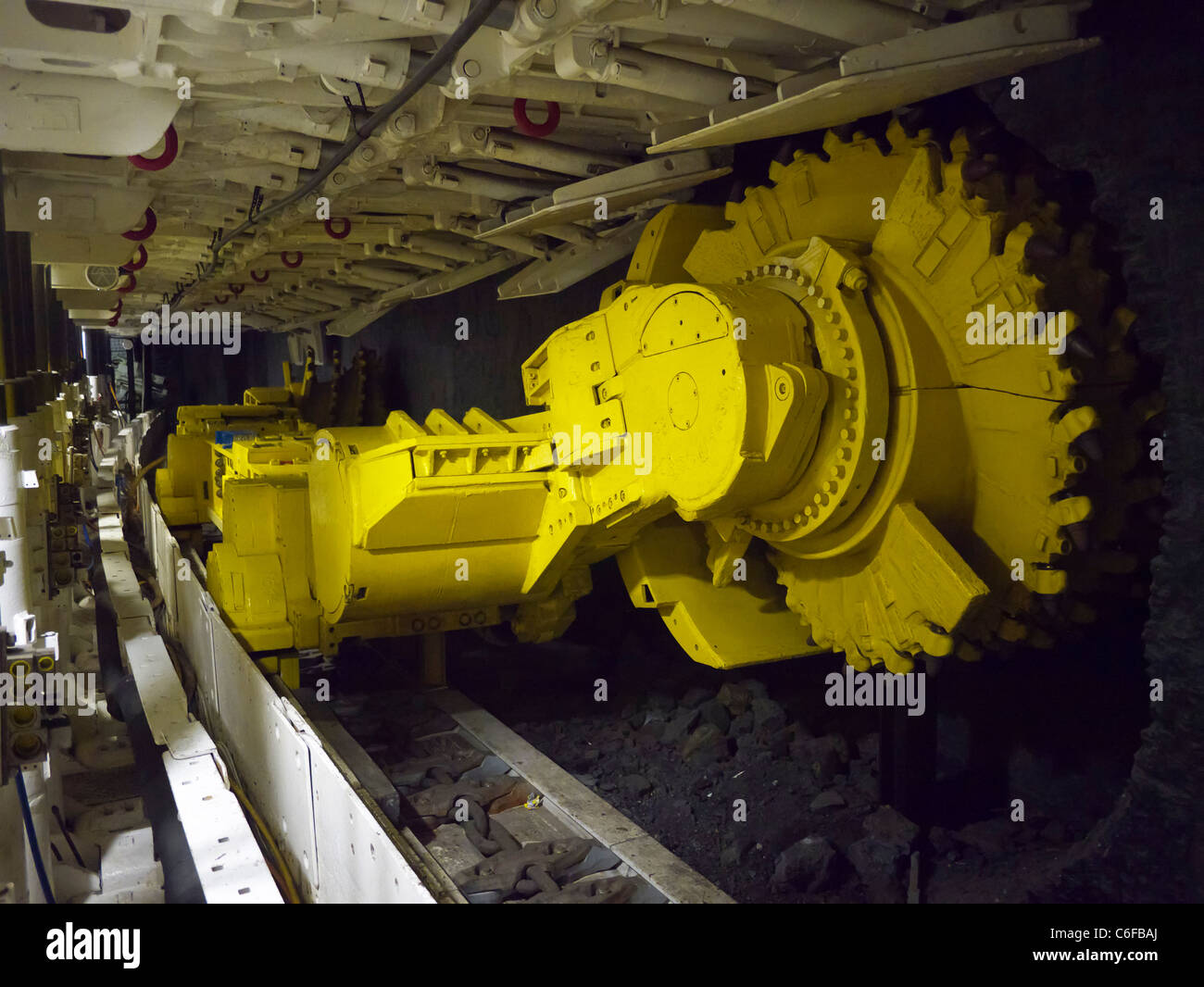 Coal cutting machine inside mine at the Deutsches Bergbau-Museum or German Mining Museum in Bochum Germany - Stock Image