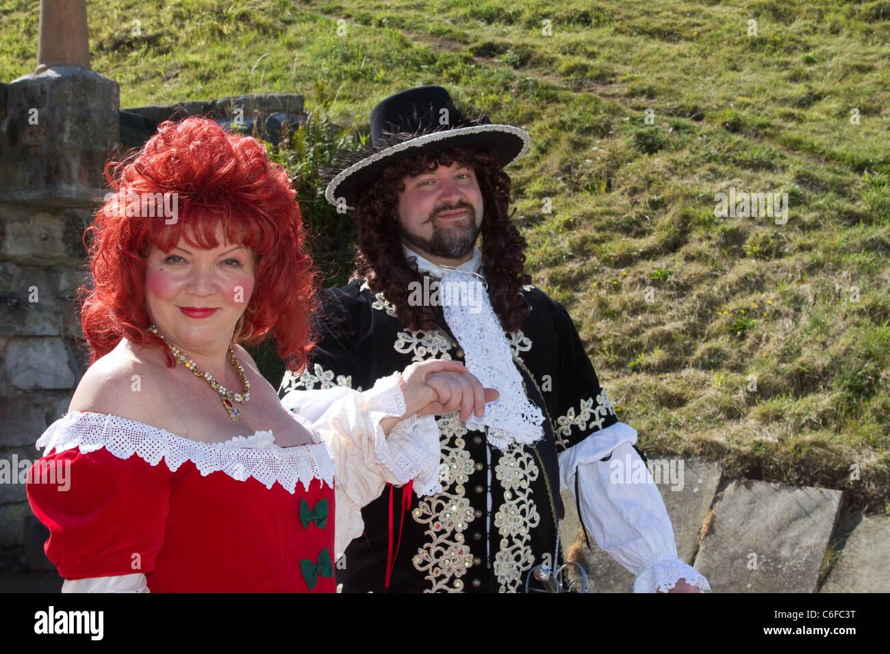 17th Century_Life & Times_Military and Civilian Historical Re-enactment, Tutbury Castle, Derbyshire, UK - Stock Image