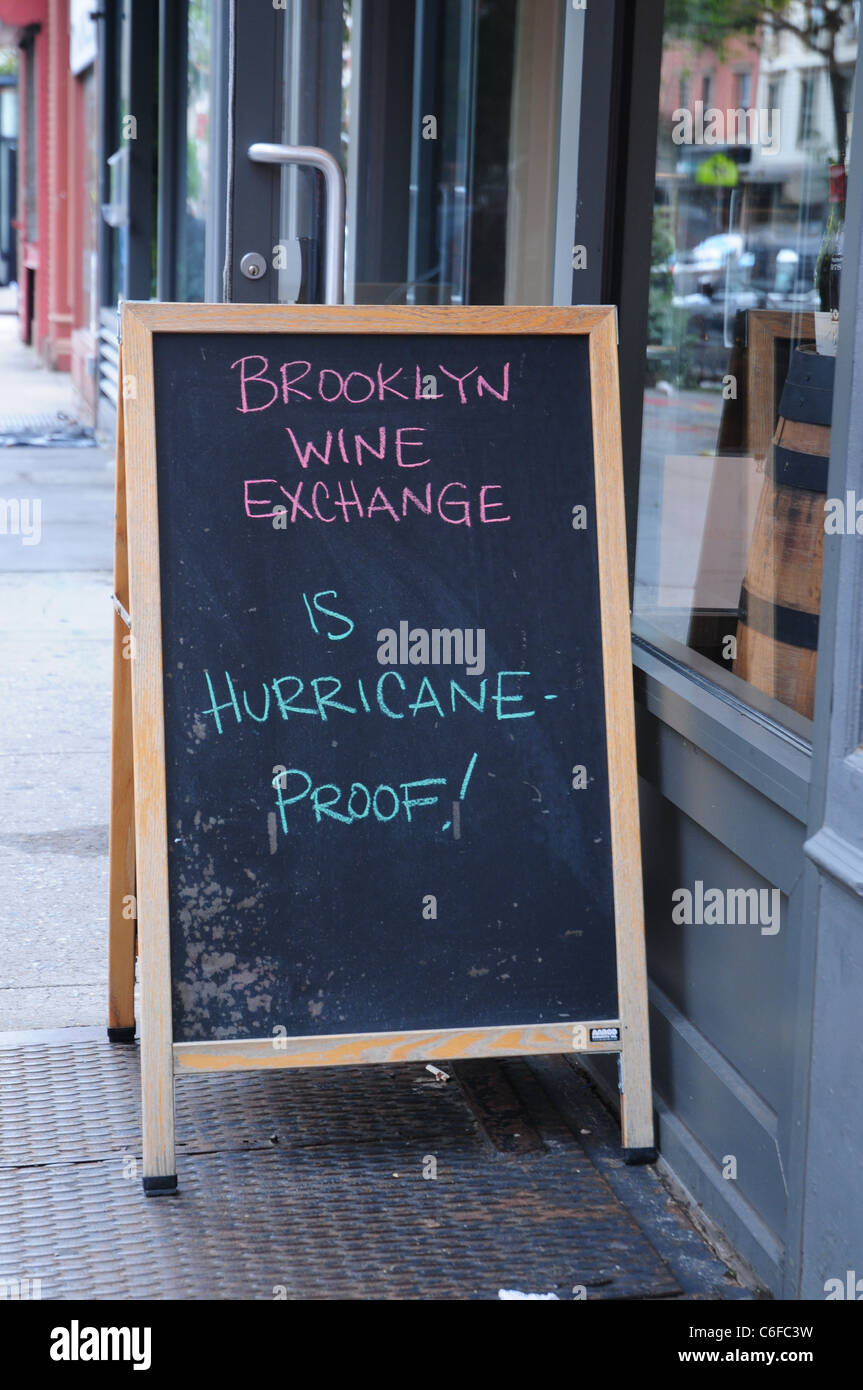A Brooklyn store declares itself open in the wake of hurricane Irene - Stock Image