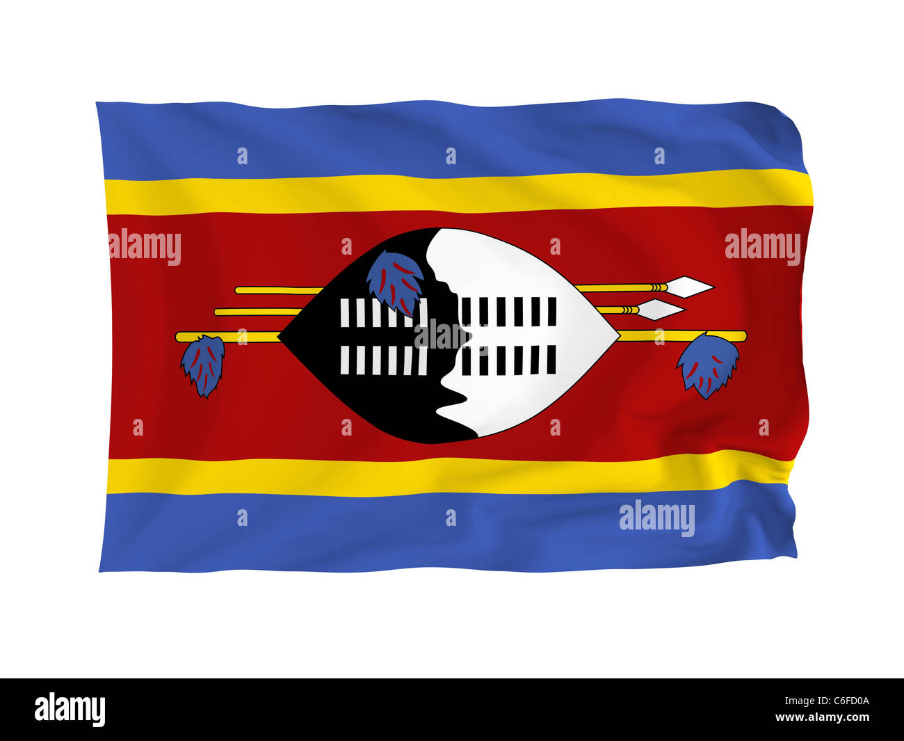 Szwaziland. High resolution African Flag series. With fabric texture. Stock Photo