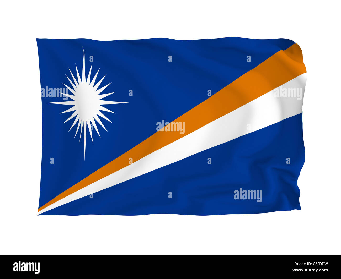 Marshall Islands. High resolution Oceania Flag series. With fabric texture. - Stock Image