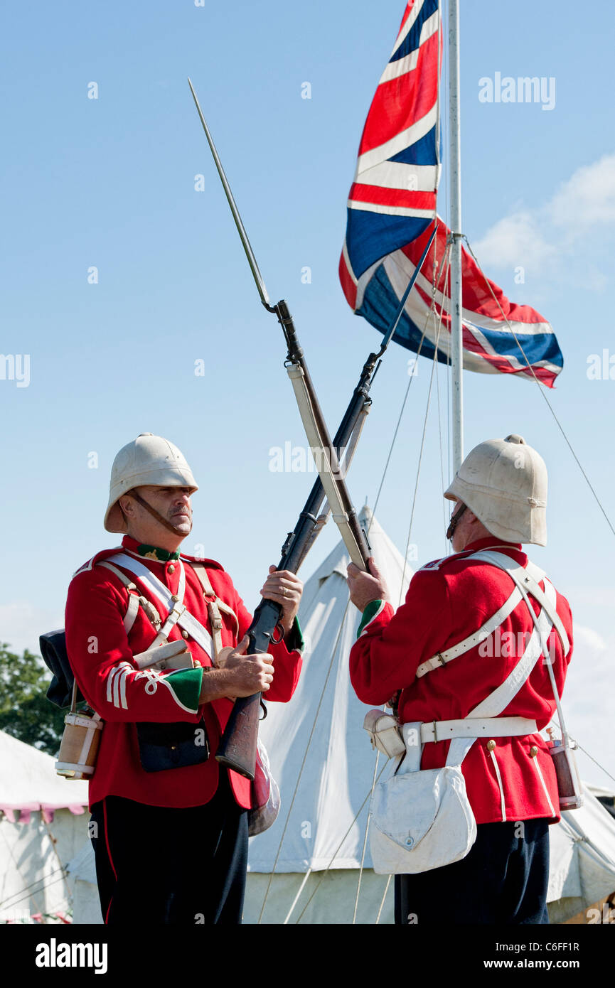 80th Regiment of foot soldiers guarding there camp . Historical british army re-enactment - Stock Image