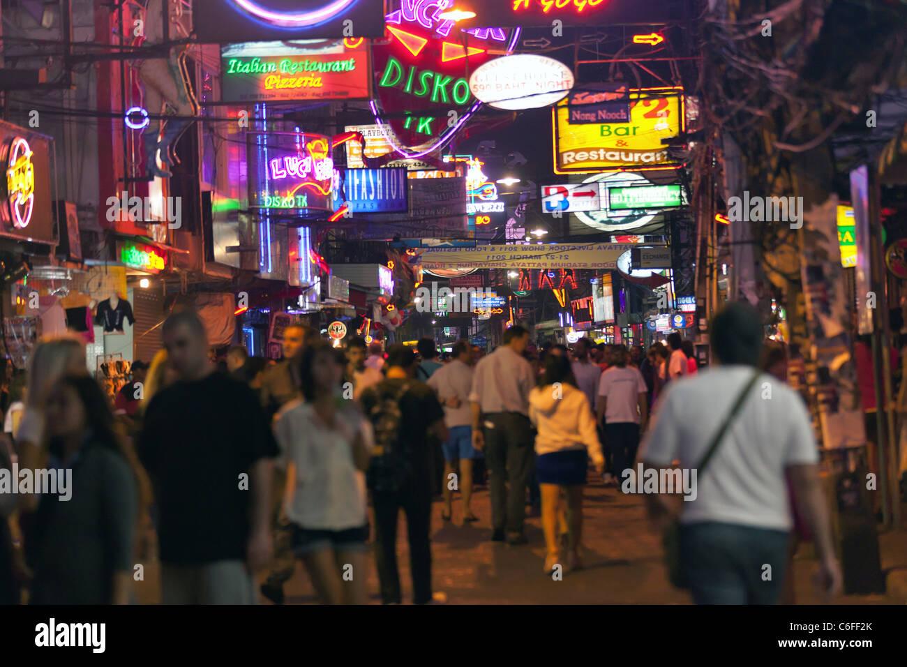 pattaya city walking street at night, many neon signs