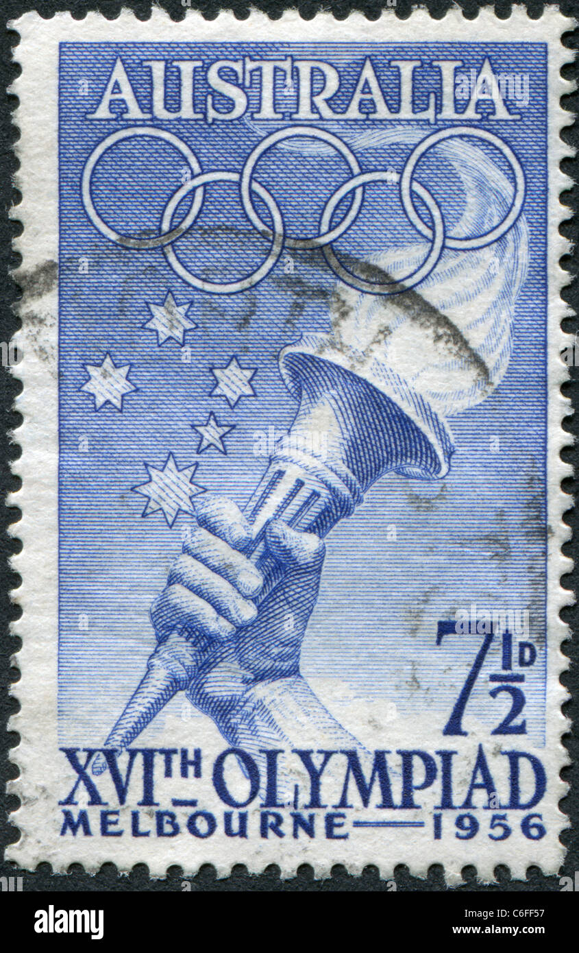AUSTRALIA-1956 A stamp printed in Australia, is devoted to the Summer Olympics in Melbourne, shows Southern Cross, - Stock Image