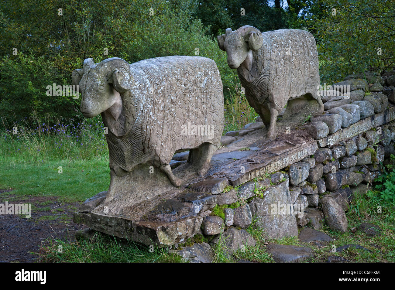 Teesdale  - stone sheep sculpture near Low Force waterfall - Stock Image
