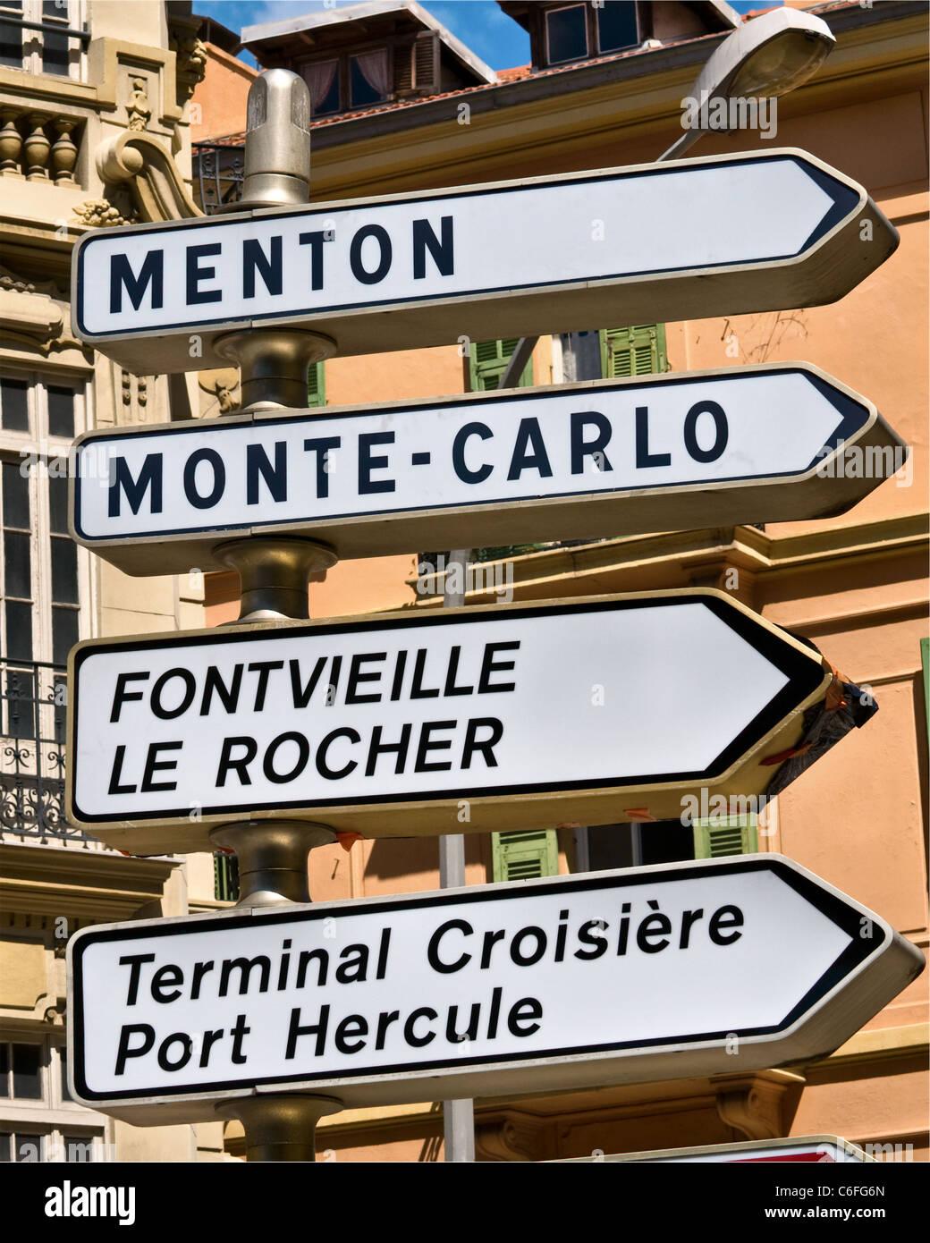 Road sign, Monaco - Monte-Carlo - Stock Image