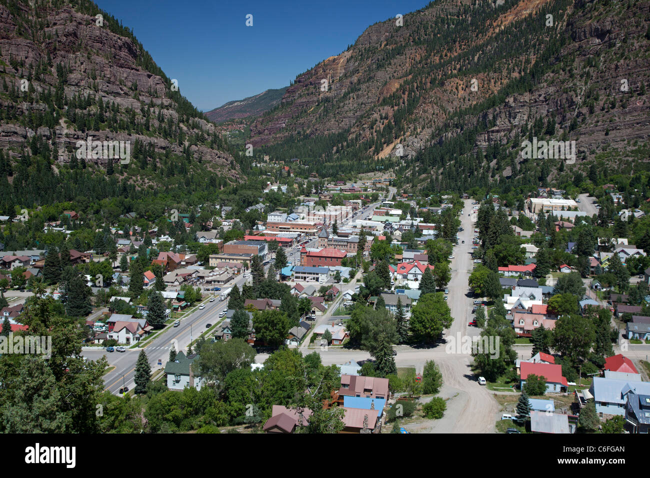 Ouray, Colorado, a former mining town in the San Juan Mountains now supported by tourism. - Stock Image