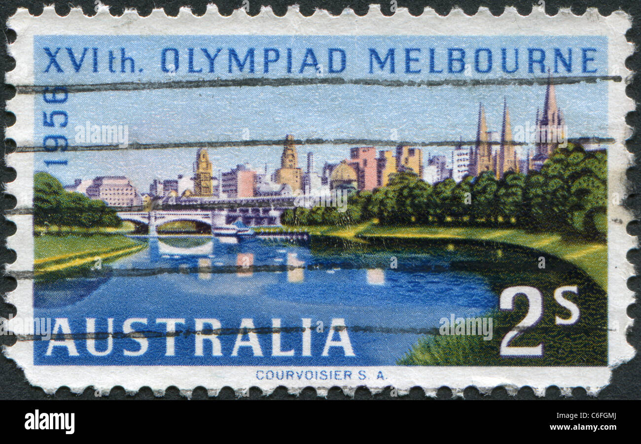 AUSTRALIA-1956: A stamp printed in Australia, is devoted to the Summer Olympics in Melbourne, shows Melbourne across - Stock Image
