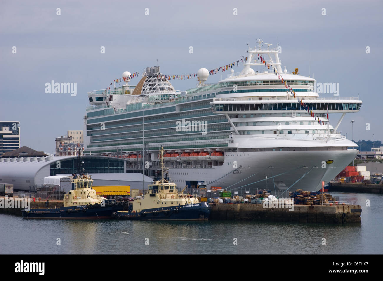 Azura one of the largest cruise ships in the P&O Cruises fleet docked at Southampton. Stock Photo
