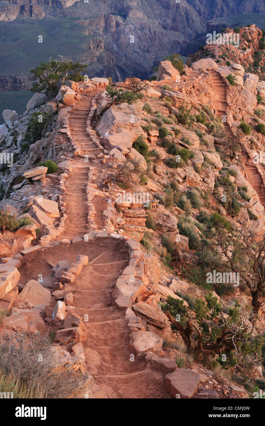 a winding series of steps going down the South Kaibab Trail in the Grand Canyon, AZ - Stock Image