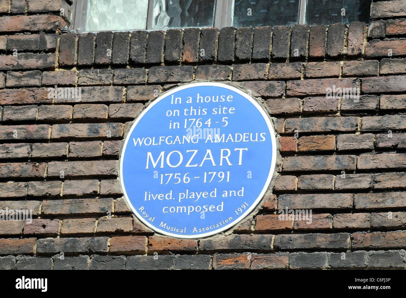 Mozart blue plaque, Wolfgang Amadeus Mozart, 20 Frith Street, Soho, London, Britain, UK - Stock Image