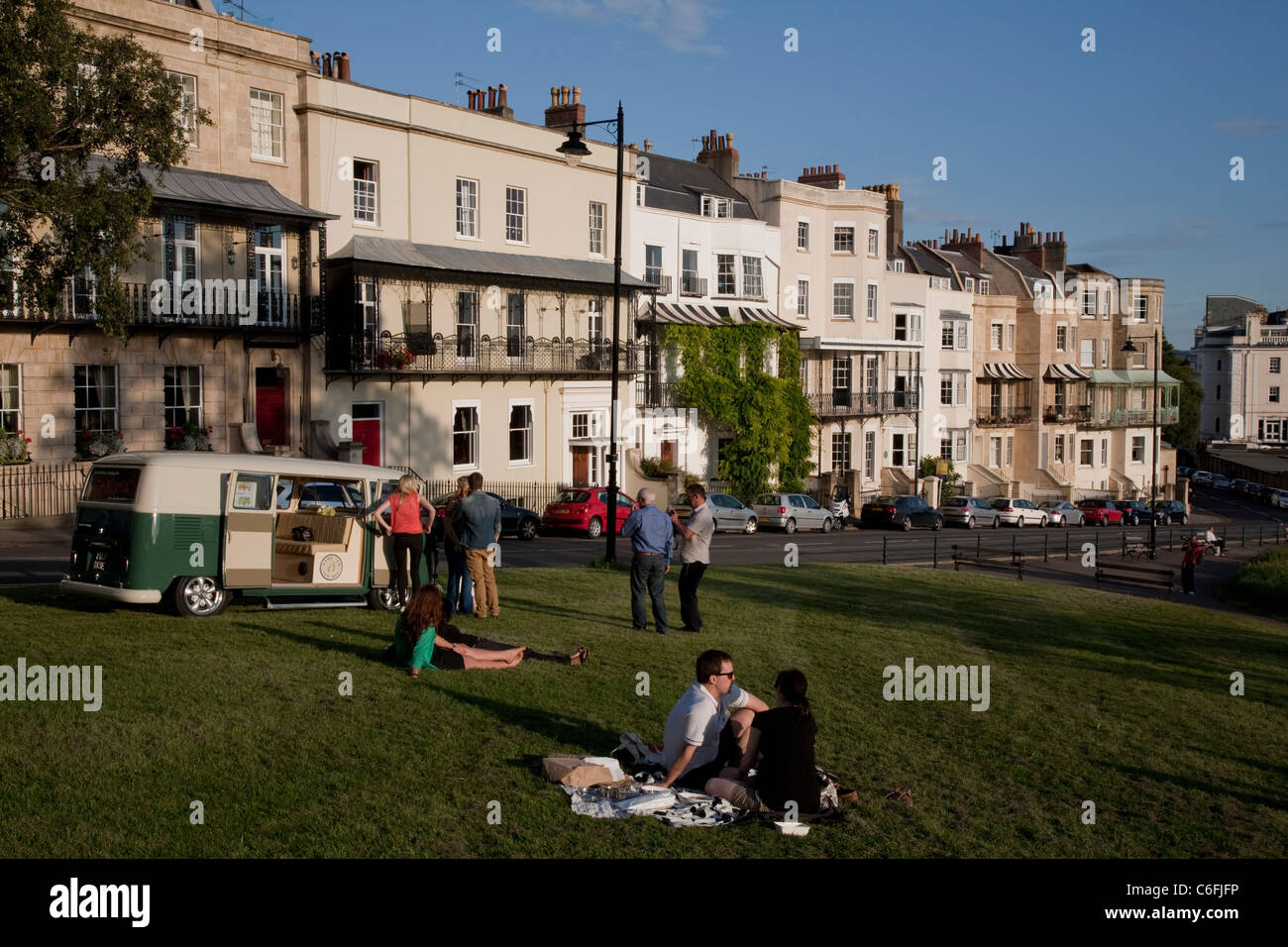 People relaxing on Sion Hill next to the Suspension Bridge, Clifton, Bristol Stock Photo