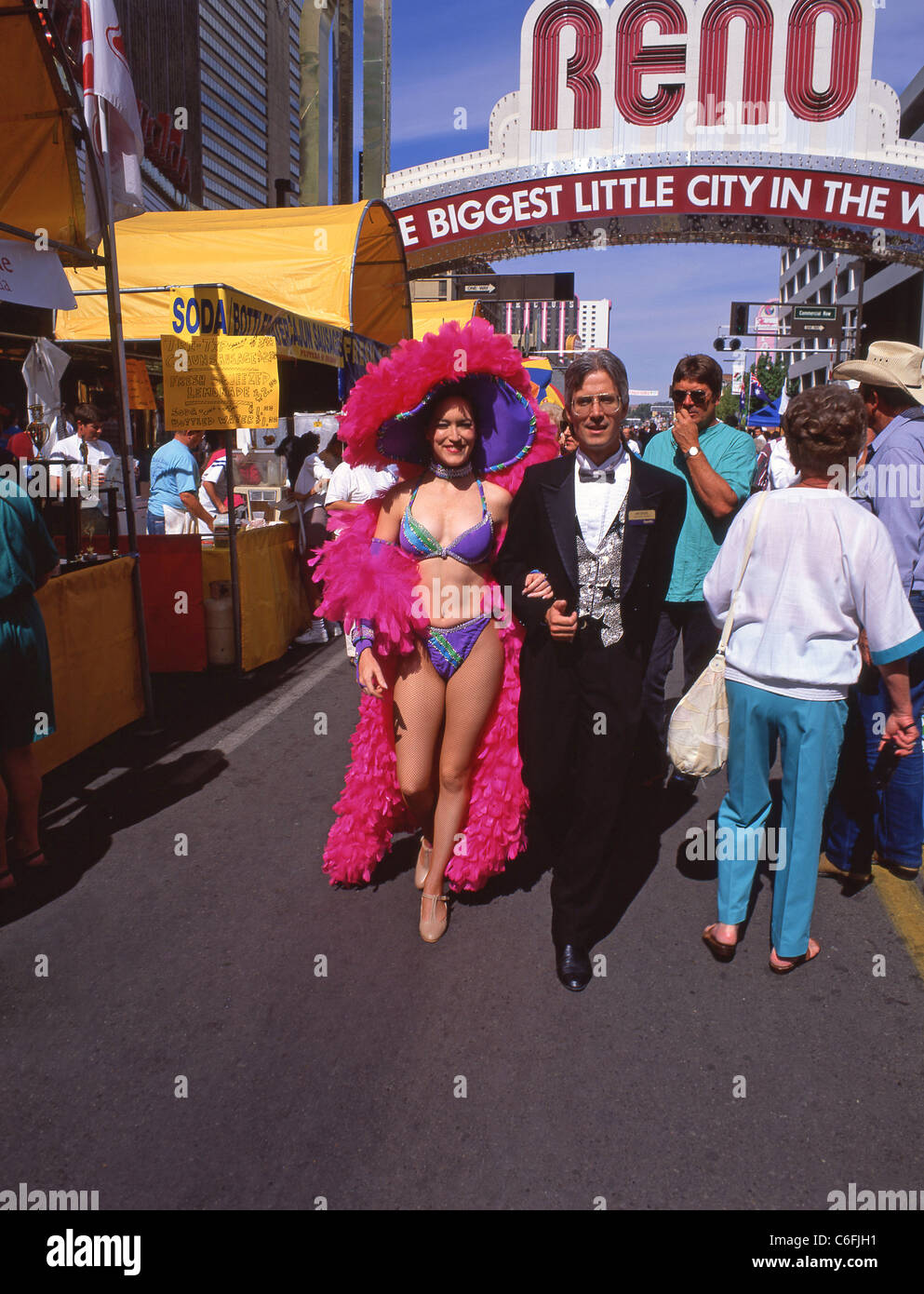Showgirl in street, Downtown, Reno, Nevada, United States of America - Stock Image
