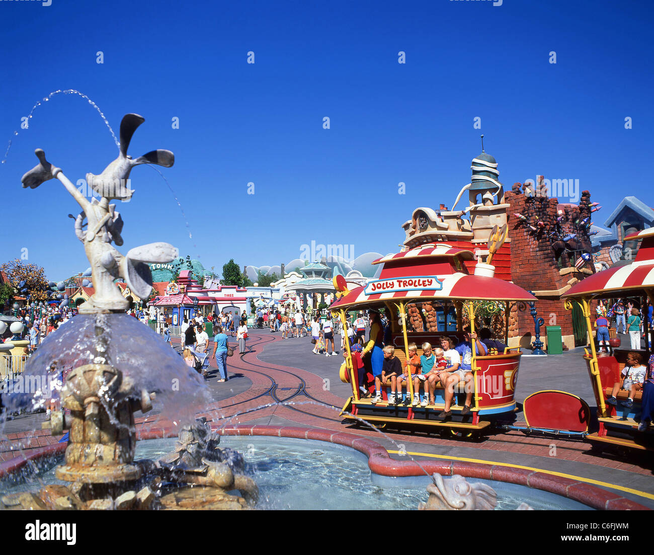 Jolly Trolley and fountain, Mickey's Toontown, Disneyland, Anaheim, California, United States of America Stock Photo