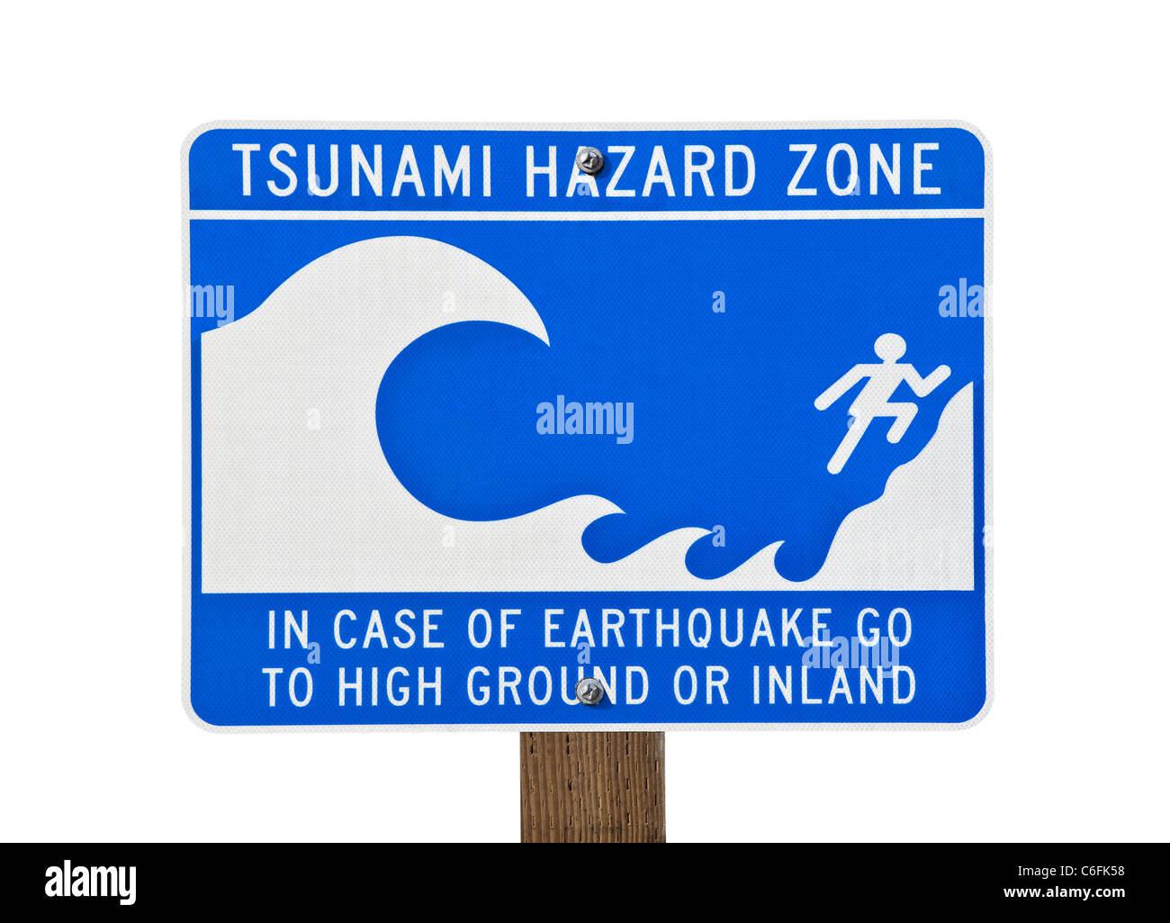 Tsunami warning zone sign isolated on white. Stock Photo