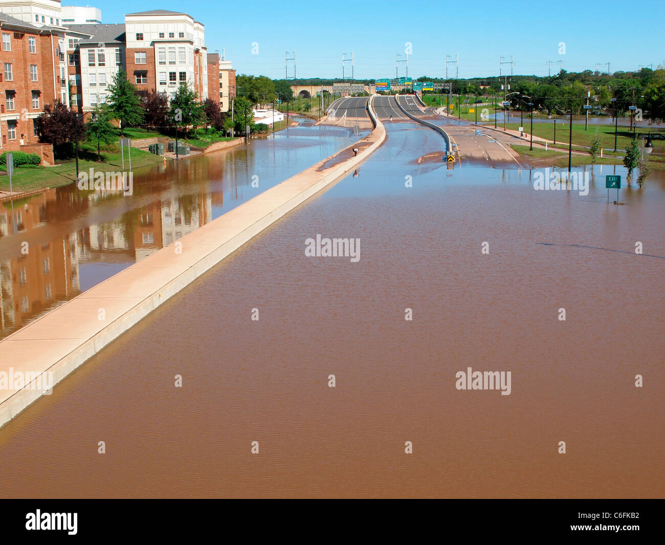 Section of Route 18 in New Brunswick, NJ, flooded with water after Hurricane Irene came through and the Raritan - Stock Image
