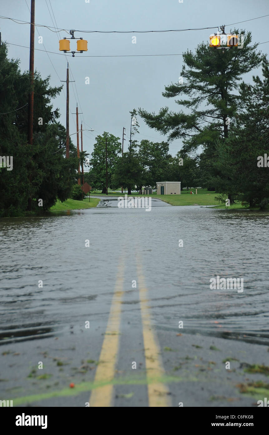 Joint Base McGuire-Dix-Lakehurst experienced wind speeds exceeding 70 mph and more than 8 inches of rainfall Aug. - Stock Image